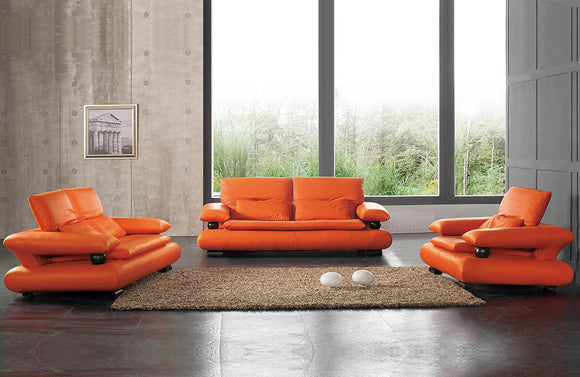 410 Modern Orange Leather Sofa Set