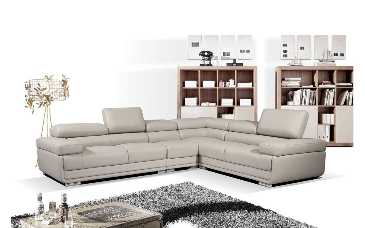 Mavis Light Grey Leather Sectional Sofa Buy 3299 In A