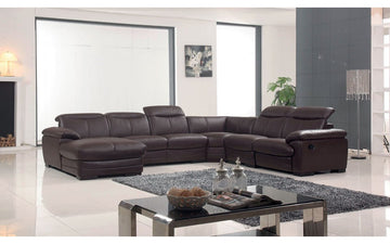 2146 Brown Leather Sectional Sofa