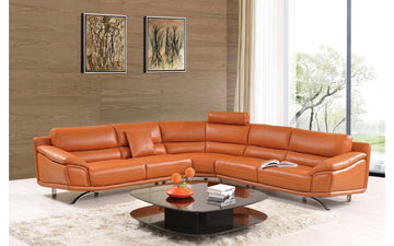 533 Orange Leather Sectional Sofas