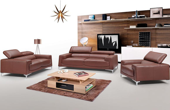 Penelope Leather Modern Sofa Set