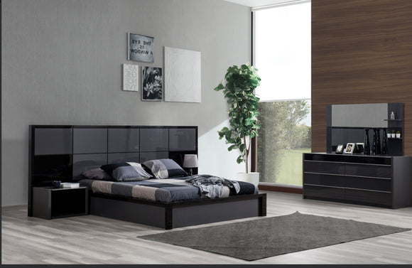 Toledo Modern Gray and Black Bedroom Set