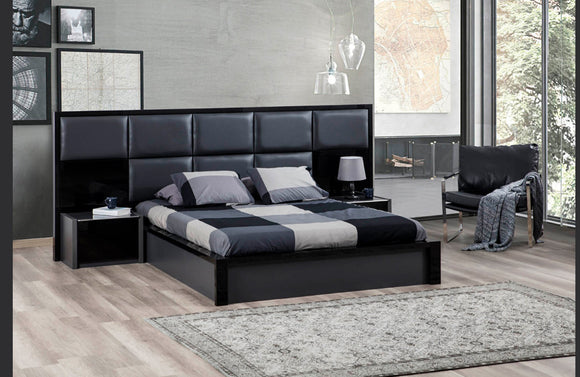 Toledo Soft Headboard Modern Gray and Black Bedroom Set