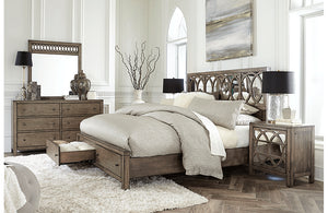 Tildon Mirrored Panel Storage Bed