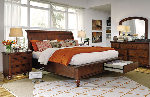 Cambridge Sleigh Storage Bed Brown Cherry