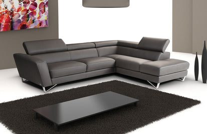 Spectra Dark Gray Leather Sectional Sofa