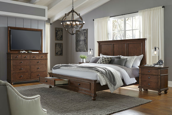 Oxford Panel Storage Bed Whiskey Brown