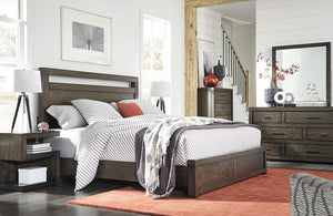 Modern Loft Panel Bed Brownstone