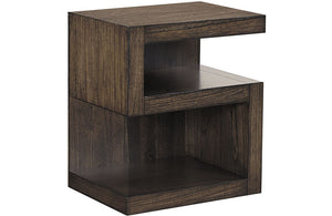 Modern Loft S Shaped Nightstand Brownstone