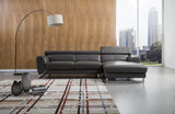 Alden Grey Leather Sectional Sofa