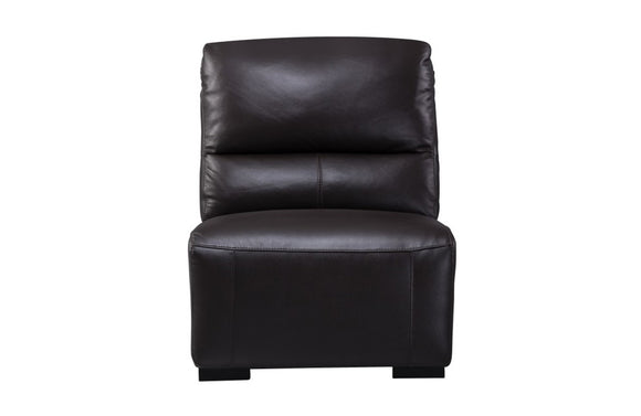 Aldous Brown Leather Armless Chair