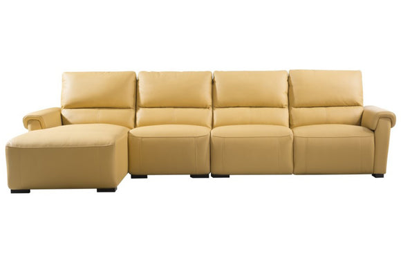Aldous Mustard Leather Sectional Sofa