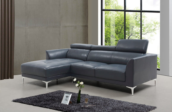 Aarav Blue Leather Sectional Sofa