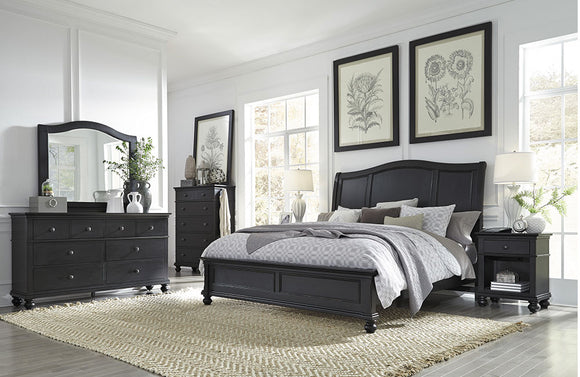 Oxford Sleigh Bed Black
