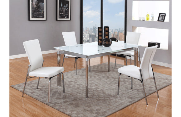 Ilaria Clear and  Berta White 5 PC Dining Set