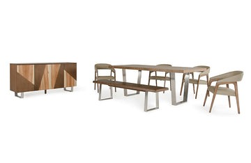 Byron and Clive Modern Walnut Dining 7 PC Set