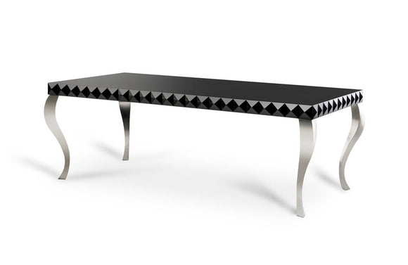 Mia Lacquer Modern White Dining Table Black