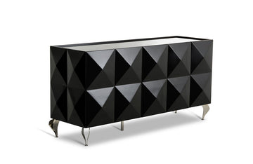 Eva Lacquer 3 Door Buffet Black
