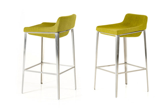 Adhil Modern Fabric Bar Stool Green