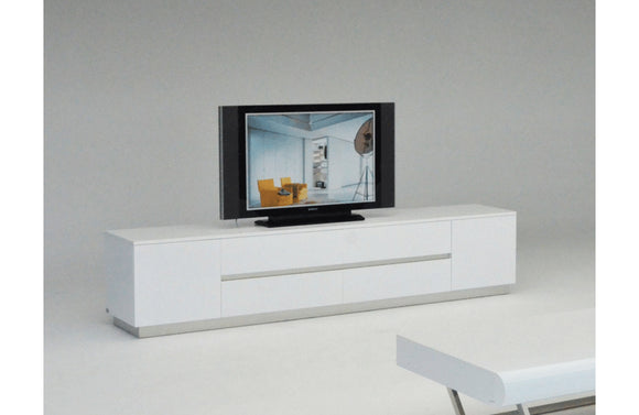 Skyline Modern Crocodile Lacquer TV Stand White
