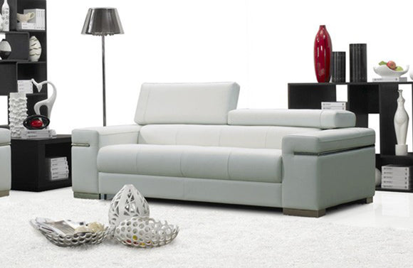 Vista White Modern Leather Sofa