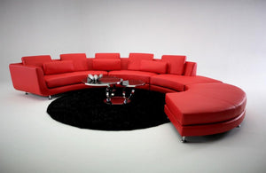 Reid Contemporary Leather Sectional Sofa & Ottoman