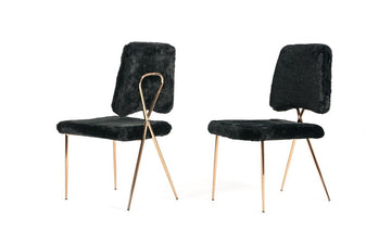 Candace - Modern Black Faux Fur Dining Chair (Set of 2)