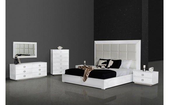 A Amp X Victoria Modern White Crocodile Bedroom Set Queen