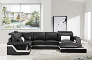Jazmin Modern Bonded Leather Sectional Sofa