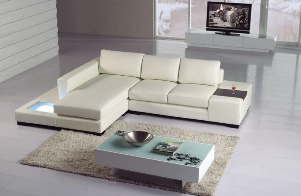Fabian White Eco Leather Sectional With Light Buy 1968