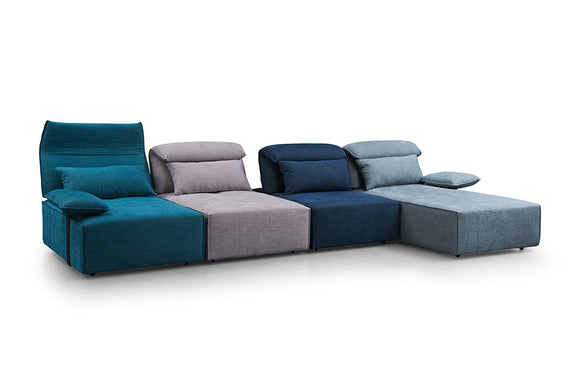 Elliott Modern Multi-Colored Blue Fabric Sectional