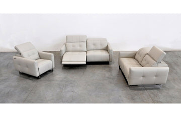 Duca Modern Leather 3 PC Sofa Set Gray