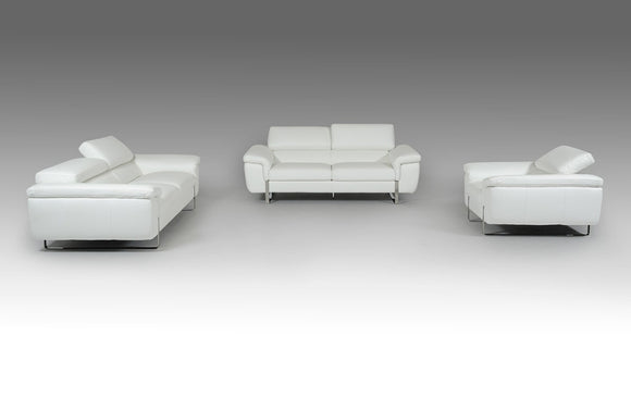 Highline Italian Modern White Top Grain Leather 3 PC Sofa Set