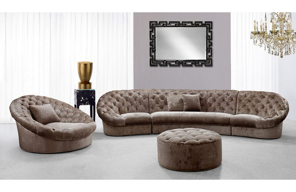Lyric Transitional Acrylic Crystal Tufted Fabric Sofa Set