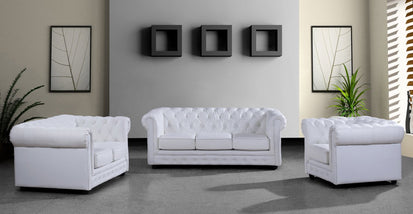Lorenzo Modern White Half Leather Sofa Set -Buy ($4212) in a ...