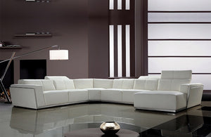 Tempo Contemporary Leather Sectional Sofa White