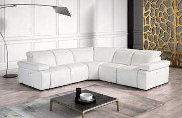 Hyding Modern White Italian Leather Sectional Sofa
