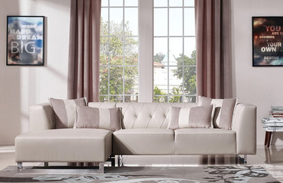 Cassidy Modern Leatherette & Fabric Sectional Sofa -Buy ($1235) in a ...