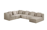 Lane Divani Casa Sawtelle Modern Grey Fabric Sectional Sofa