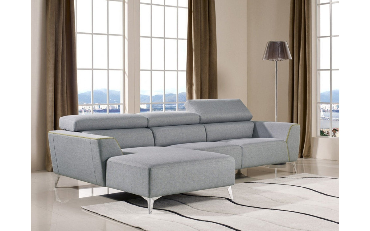 Divani Casa Sawtelle Modern Grey Fabric Sectional Sofa