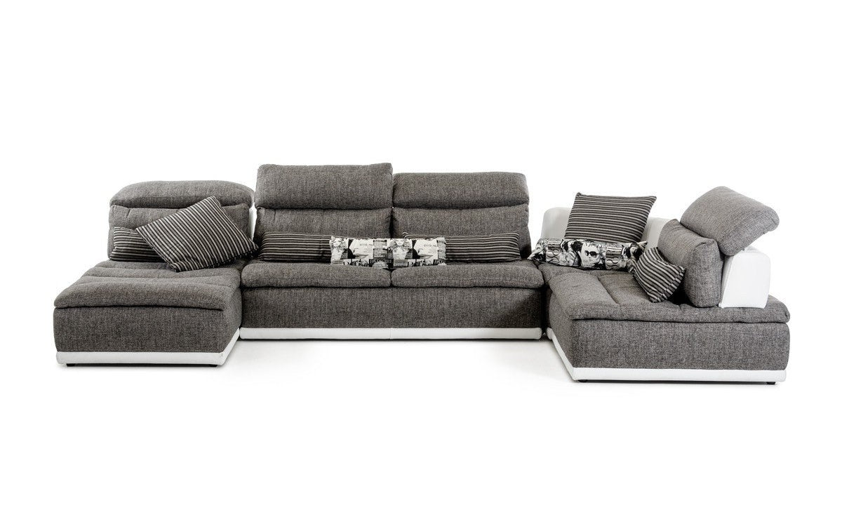 David ferrari panorama italian modern grey fabric white leather configurable sectional