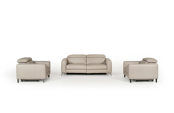 Cristian Modern Grey Leather Sofa Set w/ Recliners