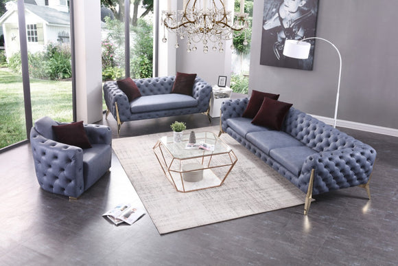 Divani Casa Catania Transitional Blue Leatherette Sofa Set