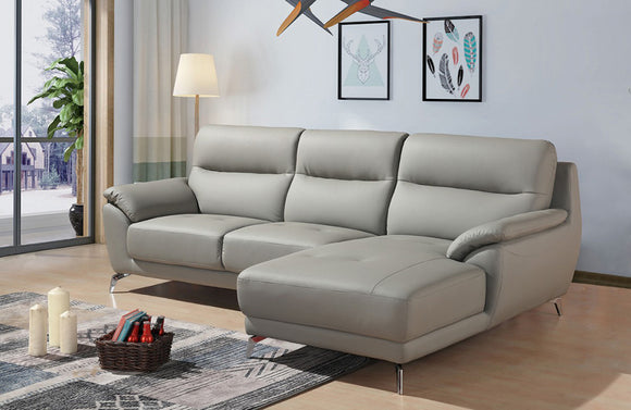 Nadia Modern Grey Eco-Leather Sectional Sofa Right Facing Chaise