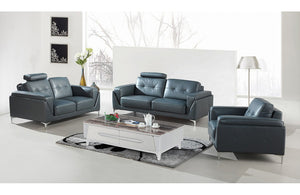 Karina Modern Grey Bonded Leather Sofa Set