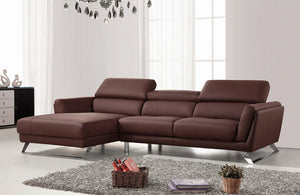 Emerson Modern Brown Eco-Leather Sectional Sofa