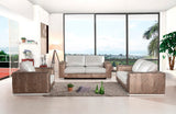 Paul Modern Bronze & White Leather Sofa Set