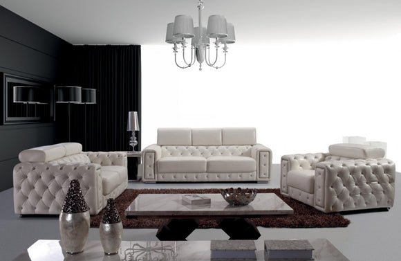 Joanna Modern Tufted Leather Sofa Set
