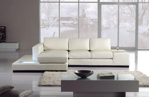 Fabian White Eco-Leather Sectional with Light