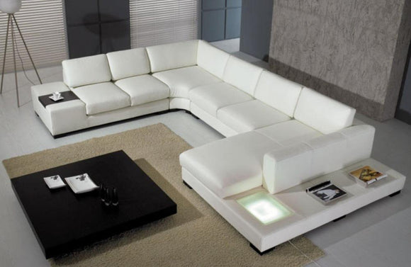 Holden Modern Leather Sectional Sofa with Light